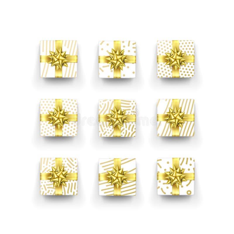 Caja o presente de regalo de la Navidad con el arco de la cinta y el modelo de oro del papel de embalaje Vector alrededor de la c stock de ilustración