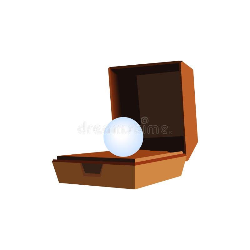 Caja para el marrón de la joyería con una perla grande imagenes de archivo