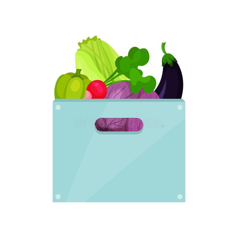 Caja plástica azul con las verduras naturales Ingredientes de la nutrición vegetariana Comida orgánica y sana Vector plano libre illustration