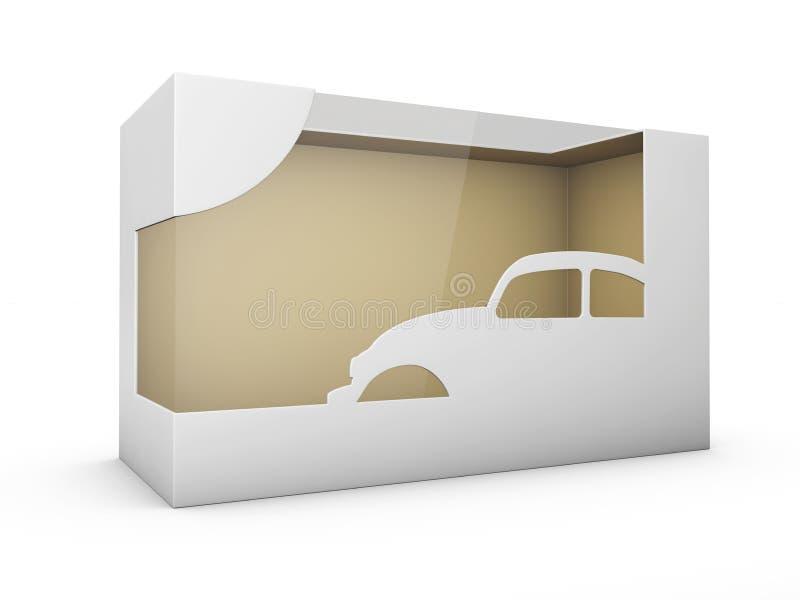 Caja plástica del paquete de la cartulina del producto con la ventana blanco aislado ejemplo 3d ilustración del vector