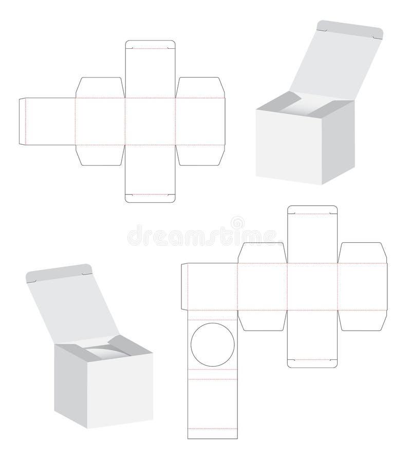 Caja que empaqueta diseño cortado con tintas de la plantilla ejemplo de la maqueta 3d libre illustration