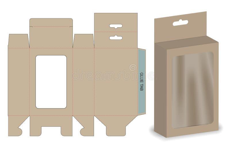 Caja que empaqueta diseño cortado con tintas de la plantilla maqueta 3d stock de ilustración
