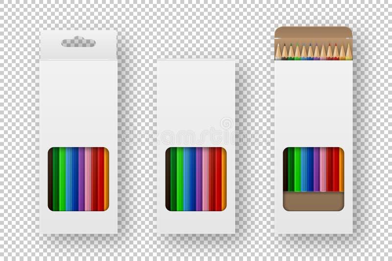 Caja realista del vector de primer determinado coloreado del icono de los lápices en el fondo blanco Plantilla del diseño, clipar ilustración del vector