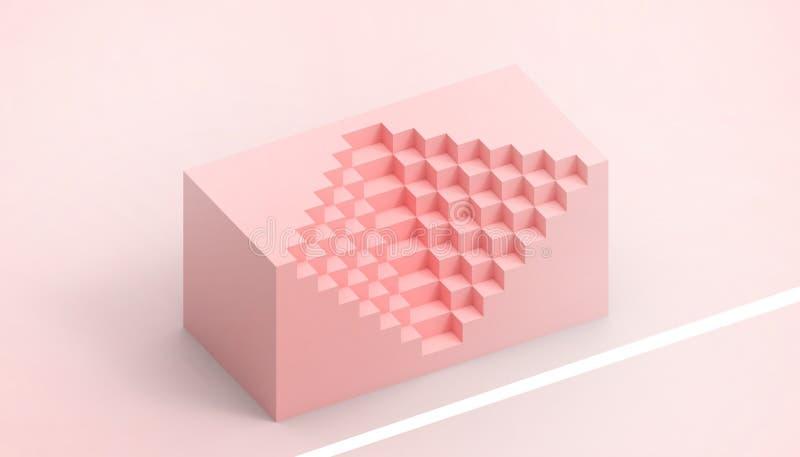 Caja rectangular de matemáticas y tecnología y un concepto creativo del negocio simple y hermoso en fondo rojo ilustración del vector