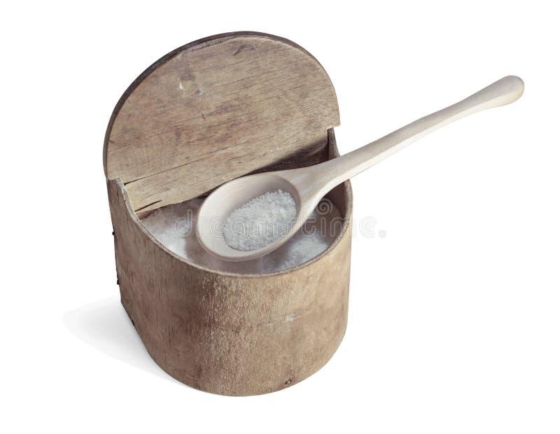 Caja retra vieja de la sal, aislante de madera de la cuchara blanco imagen de archivo libre de regalías