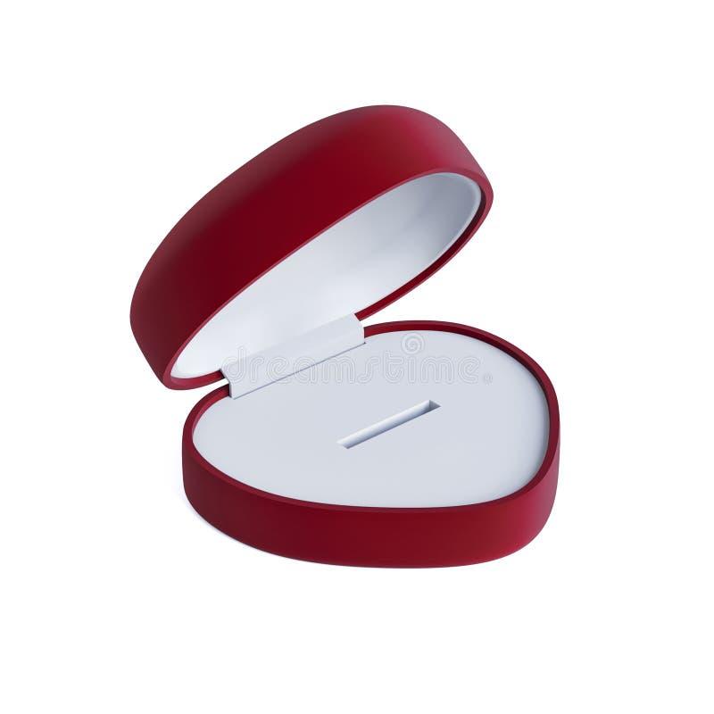 Caja roja abierta para un anillo de la forma del corazón en blanco aislado - ejemplo 3D stock de ilustración
