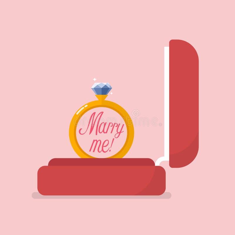 Caja roja del terciopelo que contiene el anillo de compromiso libre illustration