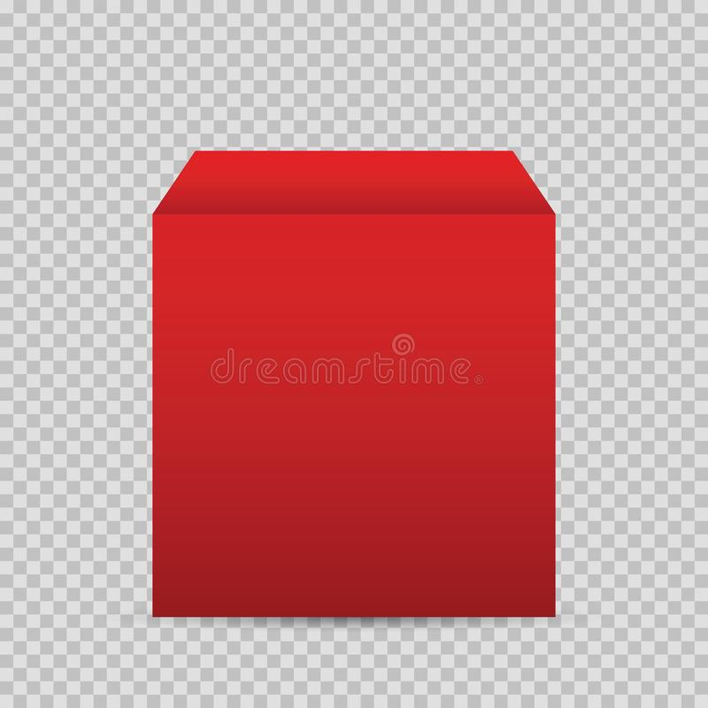 Caja roja realista en fondo transparente libre illustration