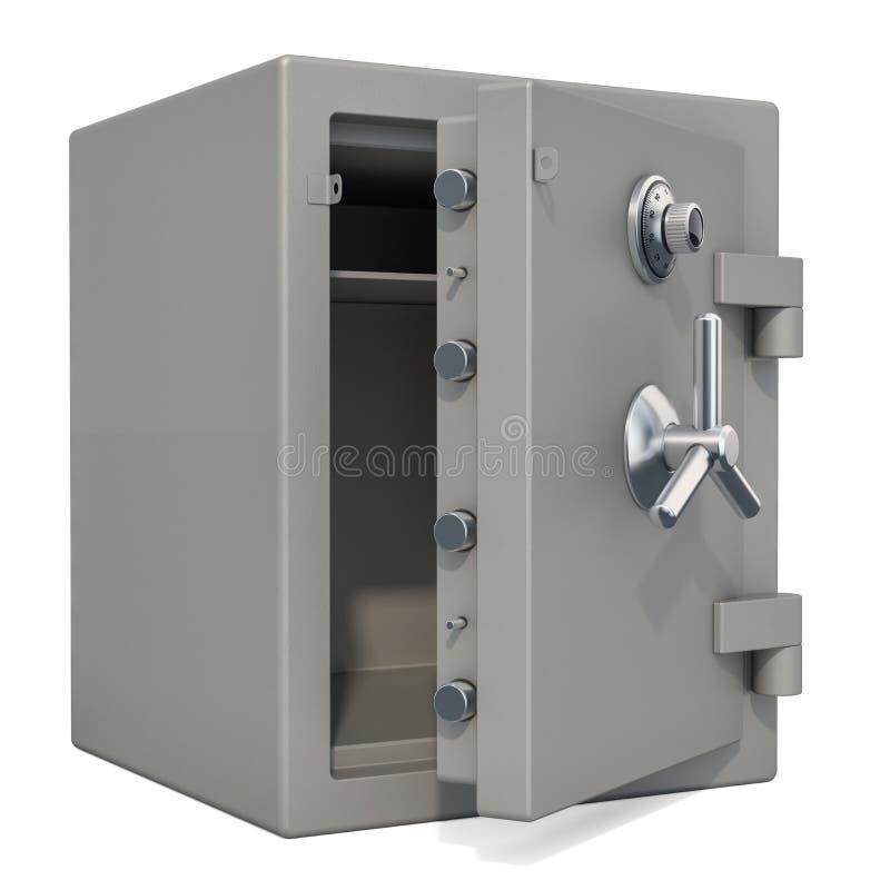 Caja segura abierta con el primer de la cerradura de combinación, representación 3D libre illustration