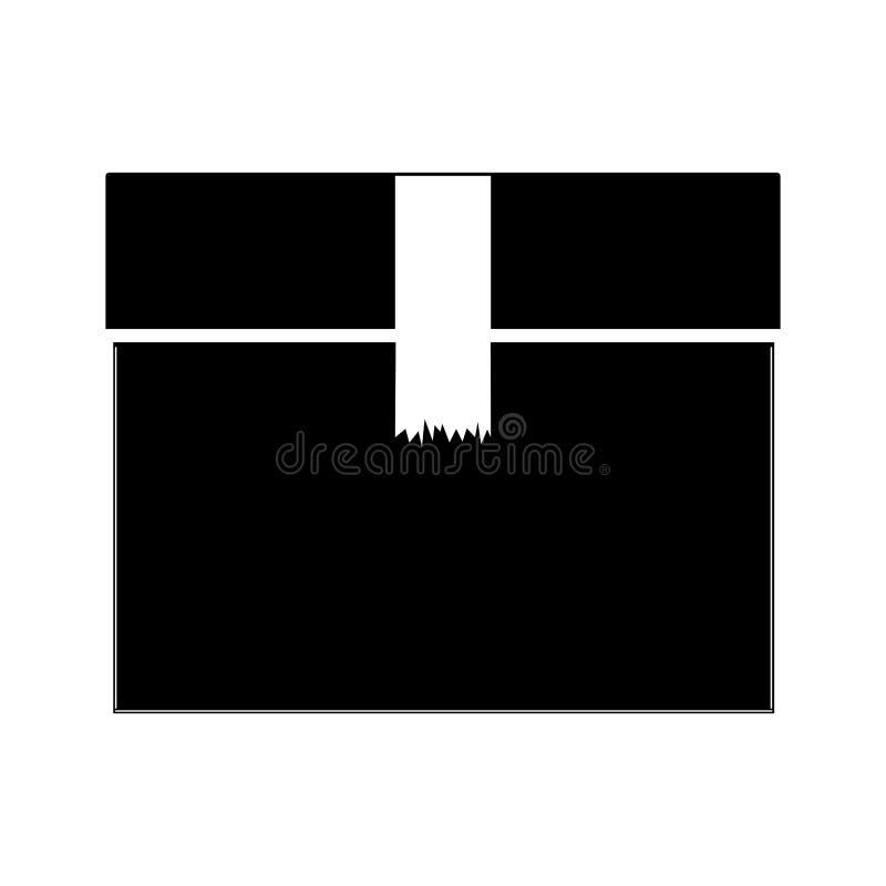 Caja sellada de la silueta negra con la cinta del embalaje stock de ilustración