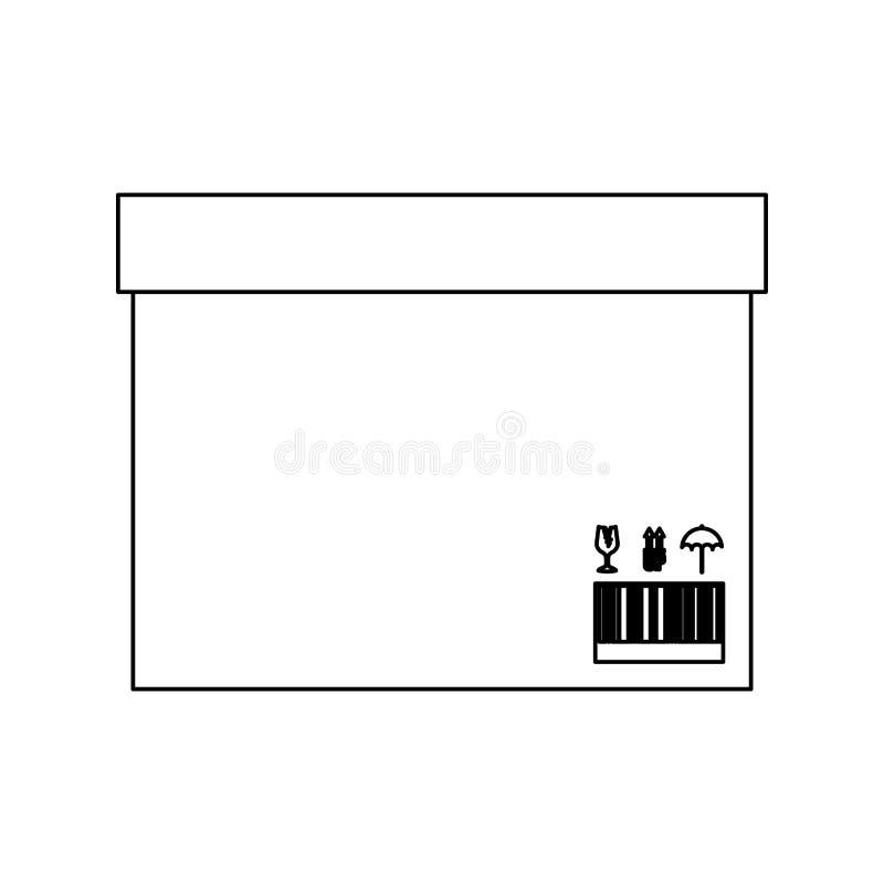 Caja sellada del contorno negro de la silueta con la cinta del embalaje ilustración del vector
