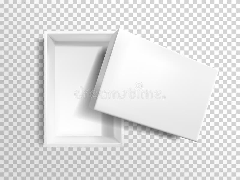 Caja vacía blanca realista del vector 3d, maqueta stock de ilustración