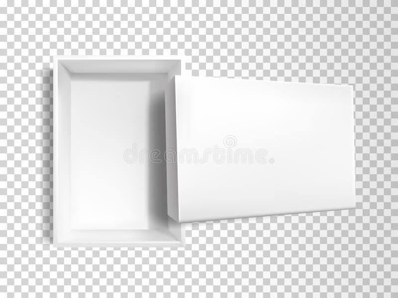 Caja vacía blanca realista del vector 3d, maqueta ilustración del vector