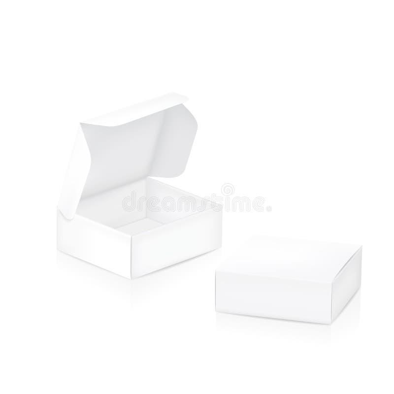Caja vacía del paquete Dos cajas de empaquetado blancas stock de ilustración