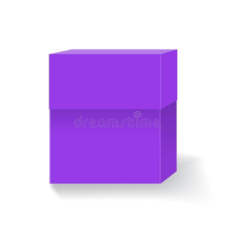 Caja vacía para su diseño y logotipo de marcado en caliente Fácil cambiar colores Color violeta o púrpura de moda stock de ilustración