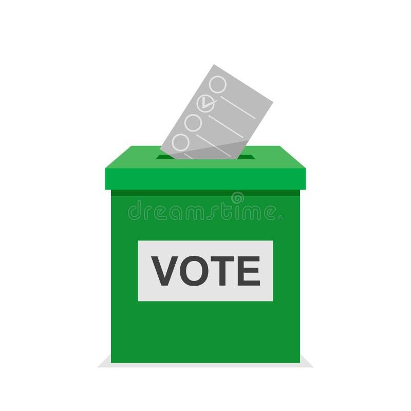 Caja verde del voto del ith del boletín del voto Elección y proceso político de la democracia que selecciona concepto Vector plan ilustración del vector