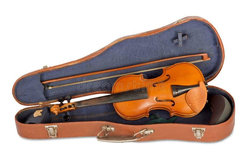 Caja vieja del violín con un arqueamiento foto de archivo