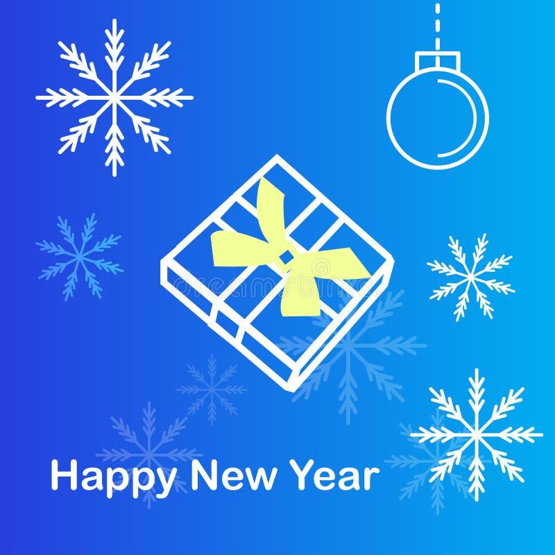 Caja y copo de nieve de regalo en fondo azul ilustración del vector