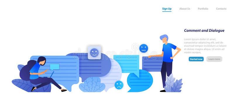 Caja y diálogo del comentario la gente se charla con los emoticons de la charla de la burbuja para el discurso y la comunicación  stock de ilustración