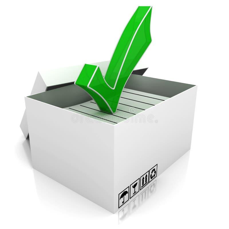 Caja y marca de verificación de cartón libre illustration