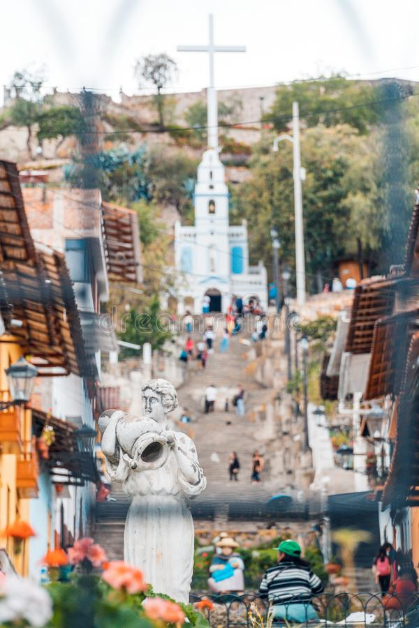 Cajamarquina rzeźba na wspinaczce Santa Apolonia w Cajamarca Peru fotografia stock