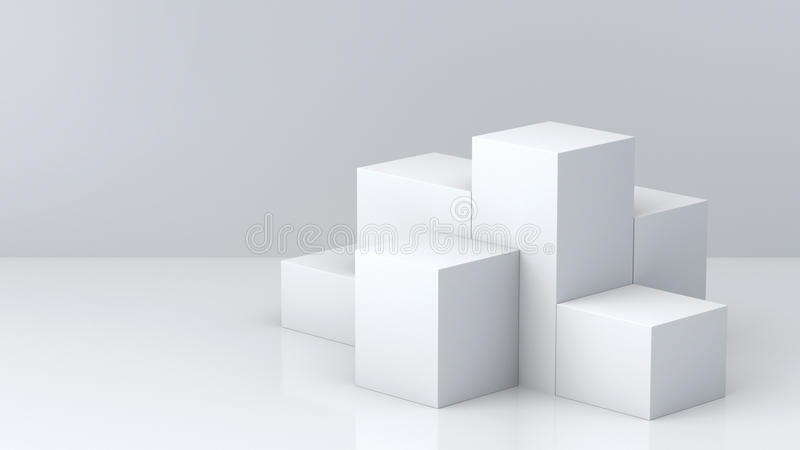 Cajas blancas del cubo con el fondo blanco de pared en blanco para la exhibición representación 3d libre illustration