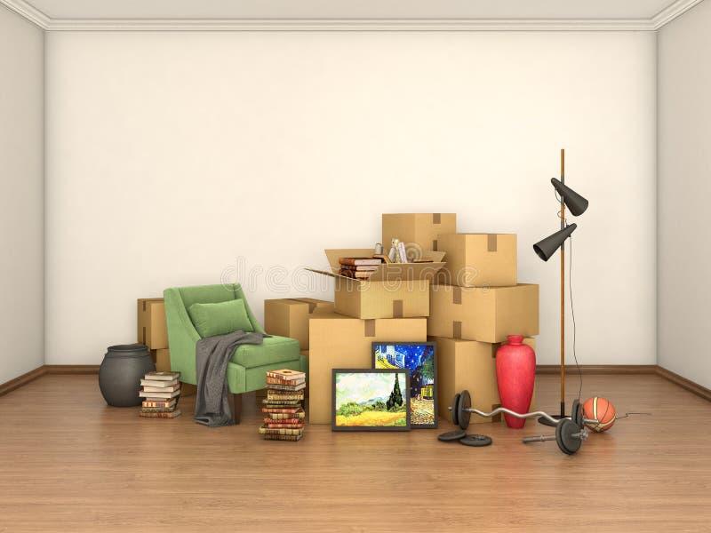 Cajas con cosas en sitio vacío, stock de ilustración