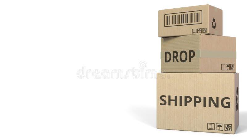 Cajas con el subtítulo del ENVÍO del DESCENSO representación 3d libre illustration