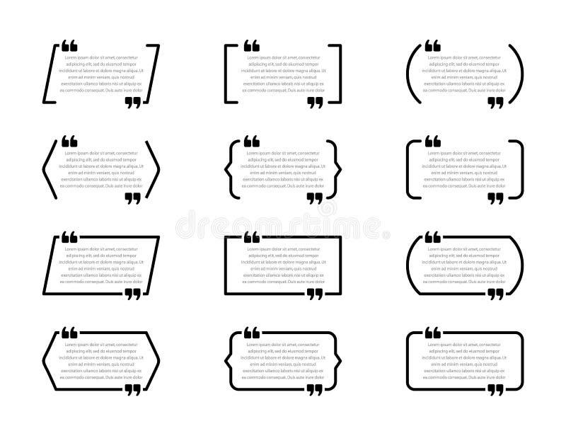 Cajas creativas de la cita Burbujas del discurso, marcos vacíos de la citación aislados en el fondo blanco stock de ilustración