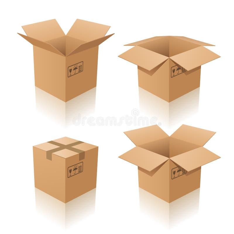Cajas de cartón stock de ilustración