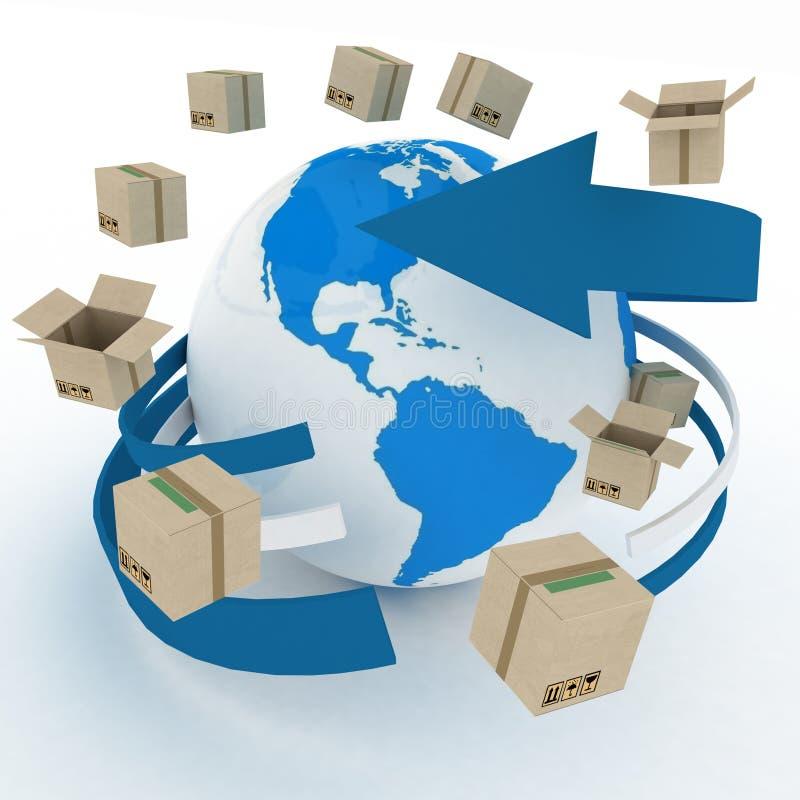Cajas de cartón alrededor del globo stock de ilustración