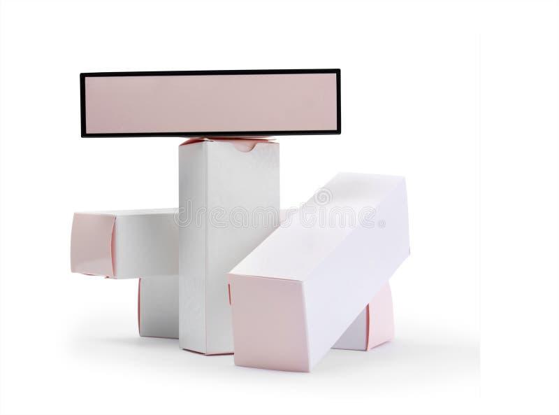 Cajas de cartón blancas fotografía de archivo libre de regalías