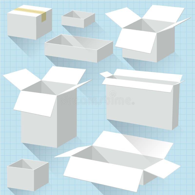 Cajas de cartón blancas ilustración del vector