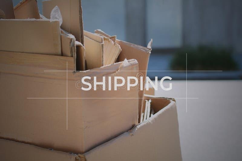 Cajas de cartón con el foco encendido fotografía de archivo libre de regalías
