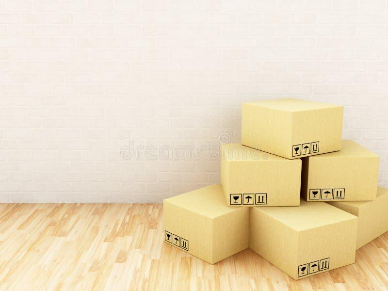 cajas de cartón 3D Concepto de la salida ilustración del vector