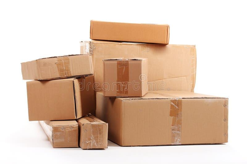 Cajas de cartón de Brown fotos de archivo