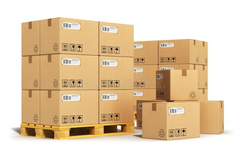Cajas de cartón en las plataformas del envío stock de ilustración