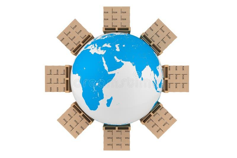Cajas de cartón en todo el mundo stock de ilustración