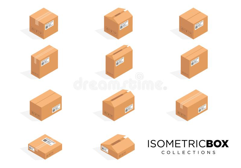 Cajas de cartón isométricas del vector Encajone la cartulina, paquete de la caja, caja que empaqueta, icono de la caja, ejemplo a stock de ilustración