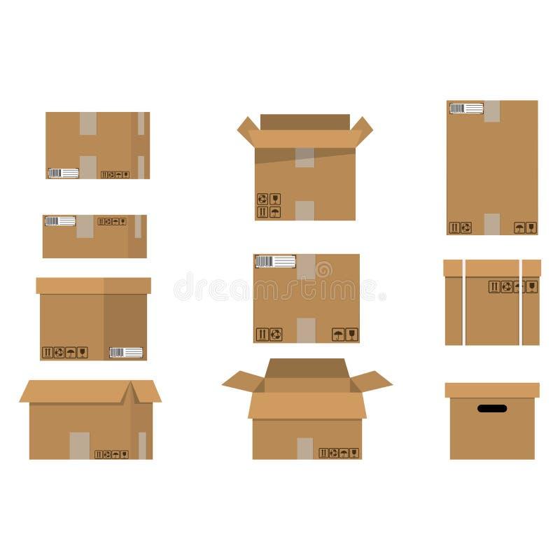 Cajas de cartón de la pila fijadas ilustración del vector