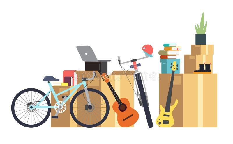 Cajas de cartón de papel con diversa cosa del hogar Familia que se traslada a nueva casa Concepto del vector de la historieta ilustración del vector