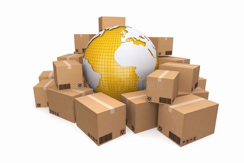 Cajas de cartón St de la logística del cargo, de la entrega y del transporte ilustración del vector
