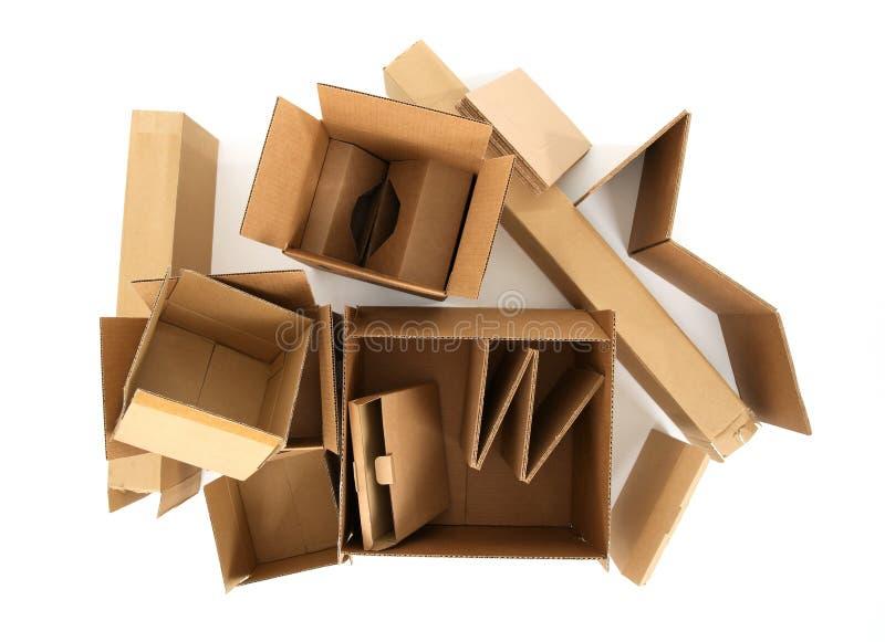 Cajas de cartón, visión desde la tapa fotos de archivo