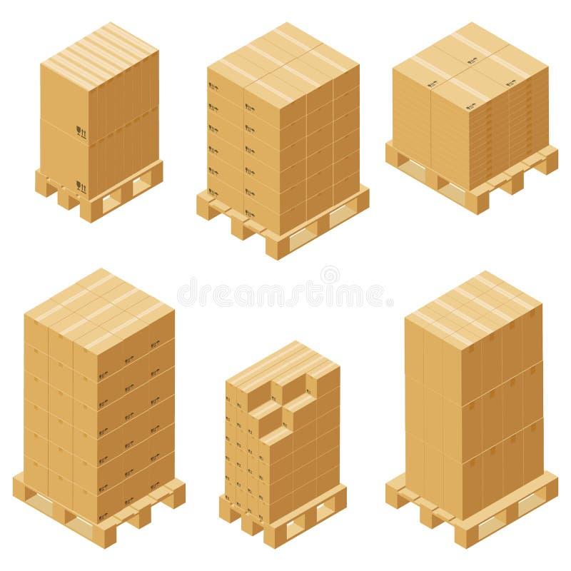 Cajas de cartón y sistema isométrico de la plataforma de madera aislado en el fondo blanco stock de ilustración