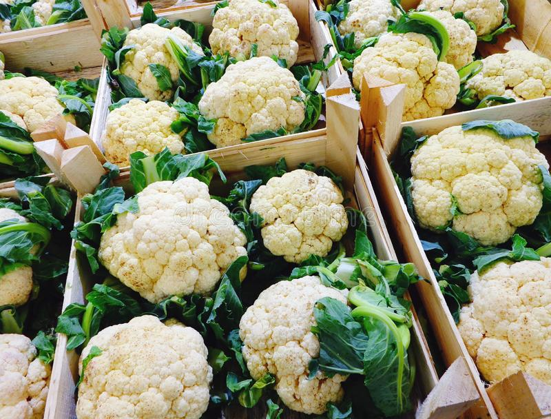 Cajas de coliflor orgánica fresca en la tienda vegetal fotografía de archivo libre de regalías