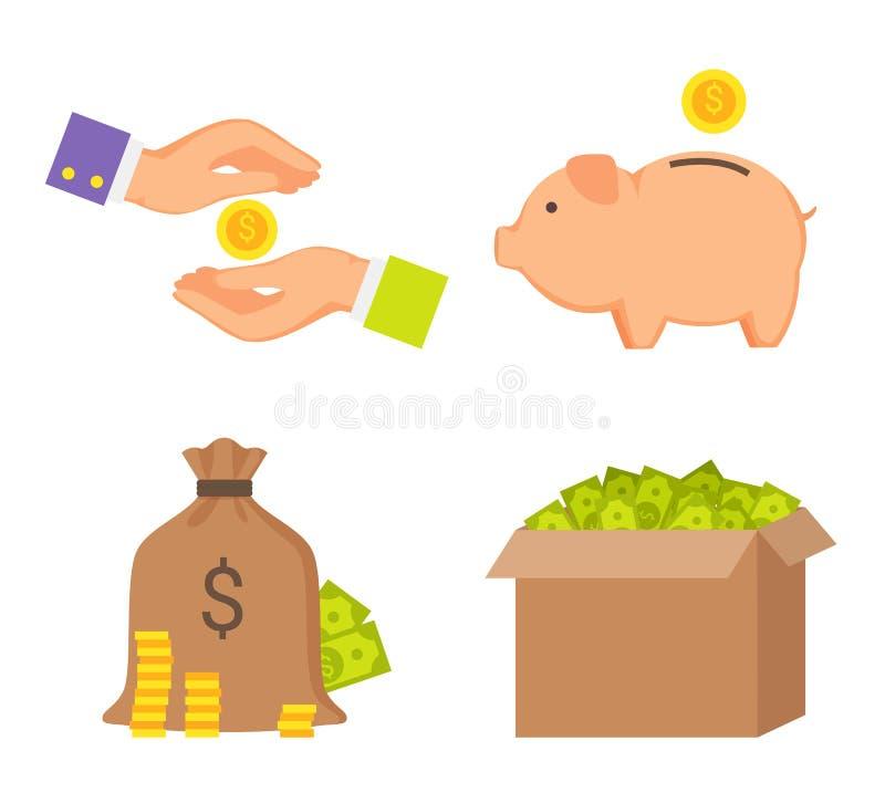 Cajas de dinero y colección humana de los iconos del color de las manos stock de ilustración