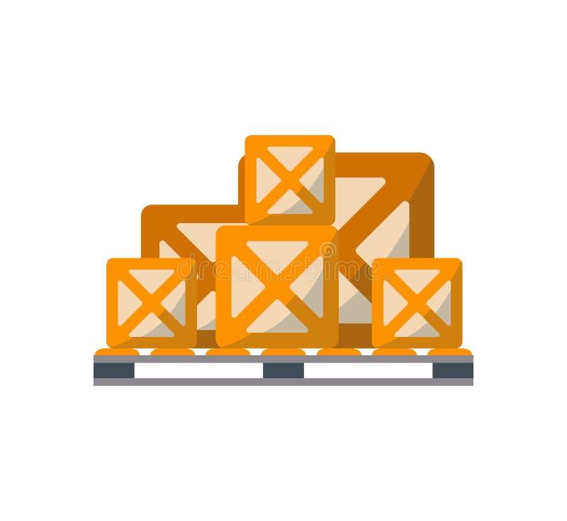 Cajas de embalaje en icono de la plataforma libre illustration