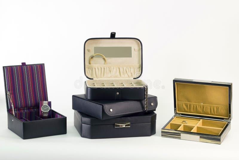 Cajas de joyería de cuero de lujo foto de archivo libre de regalías