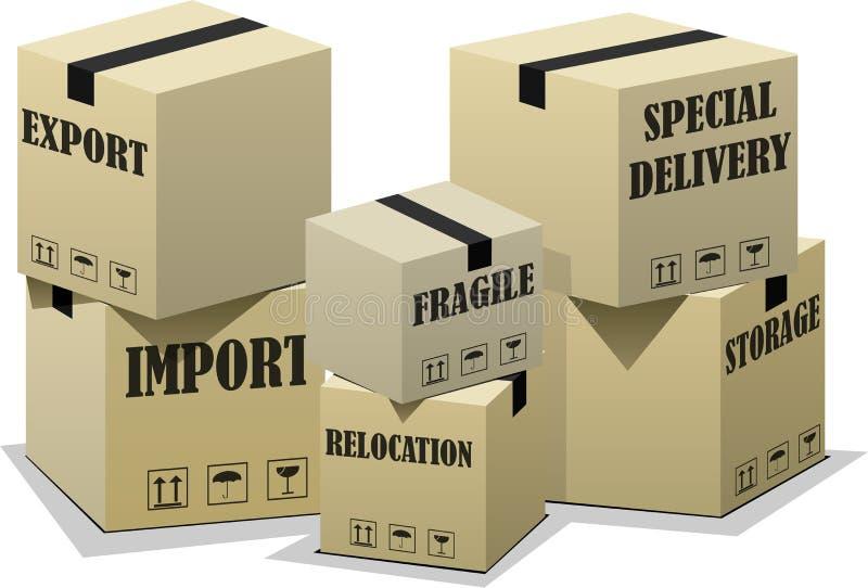 Cajas de la importación de la exportación stock de ilustración
