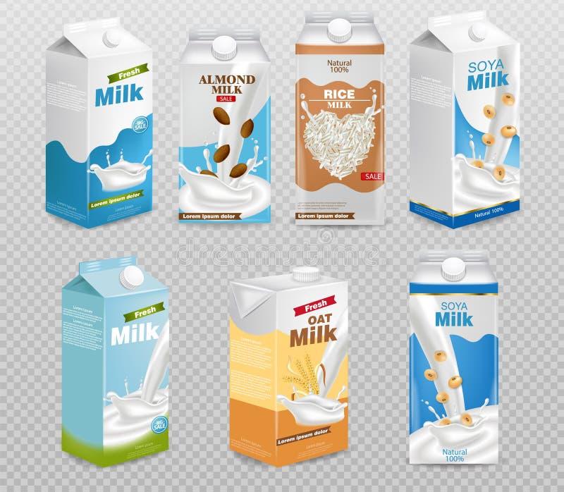 Cajas de la leche aisladas en el vector transparente del fondo realista Colección de leche, de avena, de soja, de arroz y de alme libre illustration